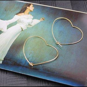 NWT Gold Hoop Heart Earrings